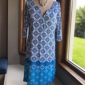 Hatley  IKAT print Dress   Viscose and Spandex  M